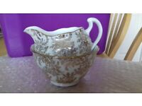 Royal Vale - Gold Fern Chintz Pattern - Milk Jug & Sugar Bowl - Vintage Bone China