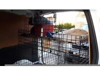 Double dog crate, front double doors and single large back door. Fits vans or estate car.