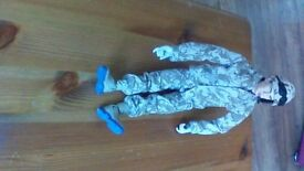 Army Action Man Toy with helmet,clothes,boots,walkie talkie,excellent condition