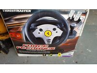 thrustmaster ferrari force feedback steering wheel and pedals