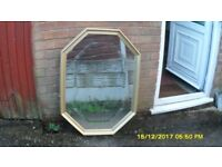 LARGE GOLD ORNATE MIRROR (BEVELLED GLASS) 38in x 28in vgc