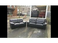 3&2 seater sofa in black leather mint mint condition £295