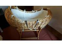 Beautiful wicker moses basket and stand