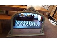 Large antique gold shabby chic ornate over mantle Wall Mirror