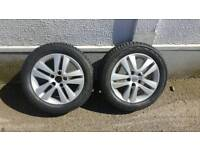 2 x Vauxhall alloy wheels complete with vredestein winter tyres in great condition