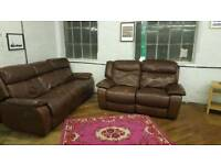 Moreno 3 Seater + 2 Seater Leather Electric Reclining Sofa Suite Brown Chocolate Dark Brown Set