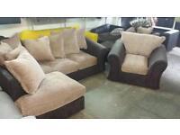 Rrp£895 tamika corner sofa and matching arm chair ex display models good savings