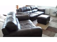 Leather suite 3+ 2 + Matching Stool