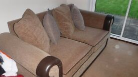 Brown Fabric and Leather Trim Sofa-Bed