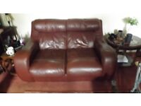 3 piece red leather suite