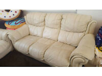 (FREE) 2 x Three Seater DFS cream leather sofa (FREE) - collection only
