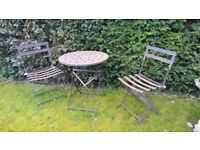 Rustic two seater garden furniture set