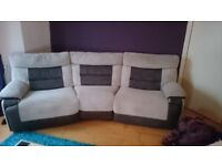 Two Matching Recliner Sofas - 1 Electric & 1 Manual - Great Condition