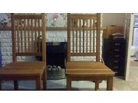 Modern oak dining chairs ×2