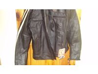 motorcycle jacket brown white stripe on sleaves