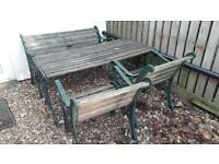 Cast Iron Garden Furniture - Table, Bench + 2 Chairs