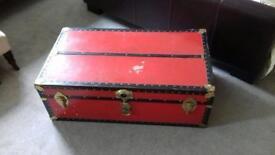 Antique/ vintage metal bound wooden chest