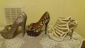 3 pairs size 6 high heels