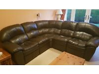 Large Brown Faux leather corner sofa with built in recliners at either end