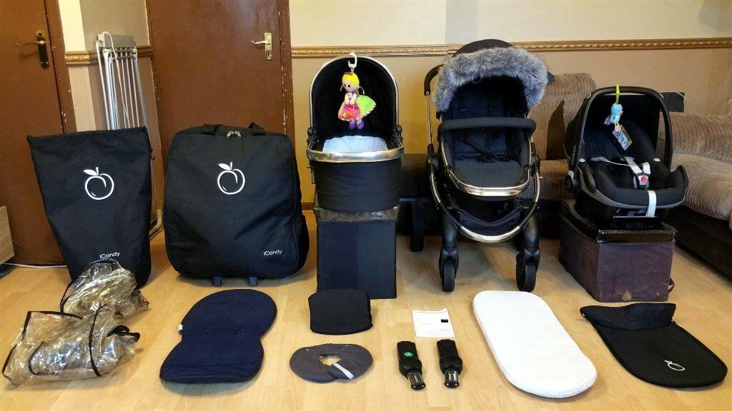 ICandy Peach 2 3 Pushchair Pram Stroller Travel System Maxi Cosi Pebble Car Seat