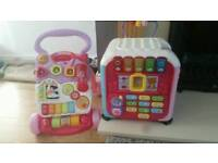 Vtech pink walker and pink learning activity cube