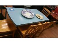 Blue formica topped extending table