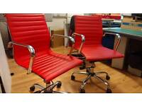 Office chairs x 2 red and chrome