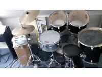 Drum Kit - suit beginner - full kit, Snare, Base, Toms etc. Stool and symbols.