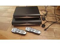 Two Sky HD boxes and remotes