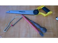 bundle lot hand tools for 5 handsaw saw hacksaw chisel vintage joinery tool wooden handle
