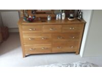 Full of Character Chest of Drawers with Steel Handles made from Solid Oak.