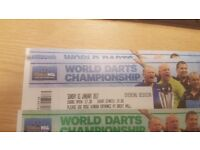 2 X WORLD DARTS SEMI FINALS FRONT TABLE SEATS TICKETS ALEXANDRA PALACE SUNDAY 1ST JANUARY 2017