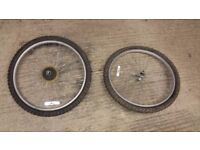 "26"" cycle wheels with tubes and tyres"