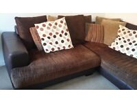 Corner Sofa cord and real leather