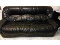Free Black real leather 3 seater