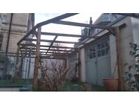 Large treated wood pergola, less than 6 months old