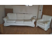 white ikea 3 seater sofa and 1 armchair with removable washable cloth cover over the top
