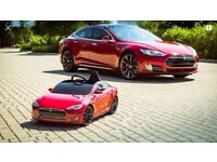 RED Tesla Model s For Kids, Battery Electric Ride In Car, Radio Flyer