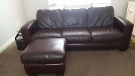 DFS 3 seater brown leather sofa and matching storage footstool.