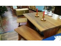 Teak Dining table and bench seats