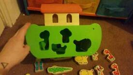 Noahs ark wooden shape sorter toy