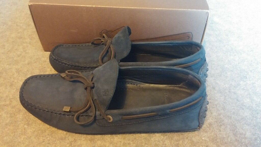 bc5b1b9faf8 Massimo Dutti Men s Blue Suede Leather Loafers Driving Shoes Boxed Size 8  Nobuck