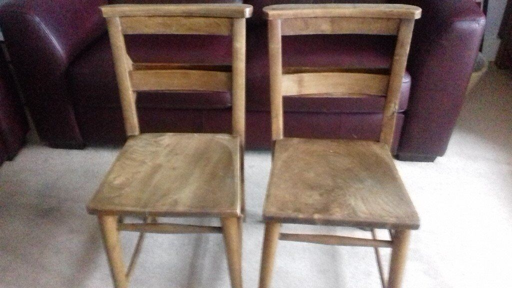 Two original Welsh classic wooden pew chairs