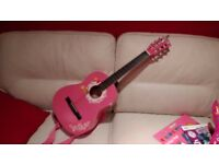 Childrens Guitar 3/4 sized Simpsons Pink with Music Stand