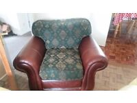 Leather and textile large armchair for sale