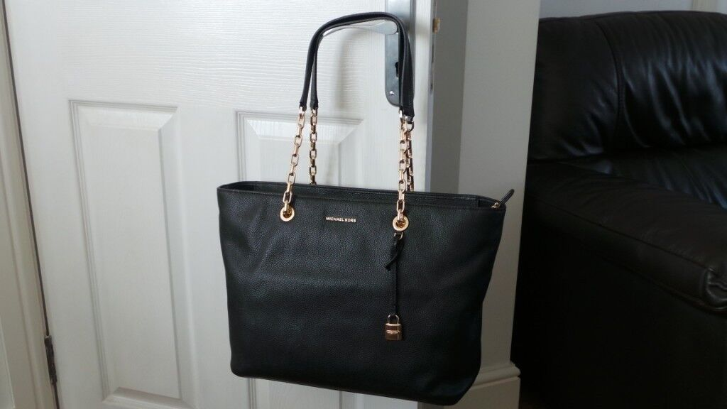 eb300e56f83e BAND NEW MICHAEL KORS MERCER LARGE LAPTOP/TABLET CHAIN-LINK LEATHER TOTE BAG