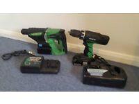Hitachi power tools set, hammer and drill
