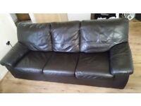 Leather Sofabed - three seater