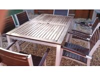 WOOD AND ALUMINIUM GARDEN TABLE + 6 CHAIRS GOOD CONDITION FREE LOCAL DELIVERY