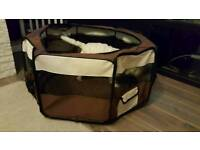 Soft Fabric Foldable Indoor Outdoor Dog Cat Puppy Rabbit Playpen Run Cage (Large, brown and cream)